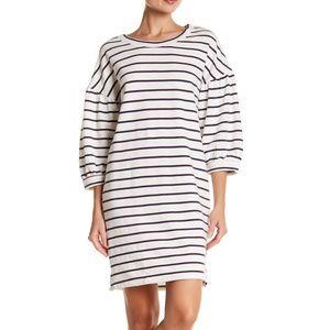Bubble Sleeve White & Navy Striped Dress